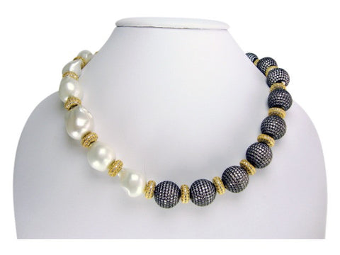 n500-2 necklace baroque pearls and pave' balls