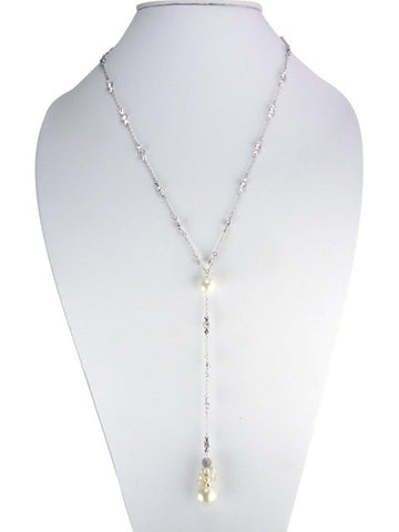 n5013 necklace lariat with faux pearls