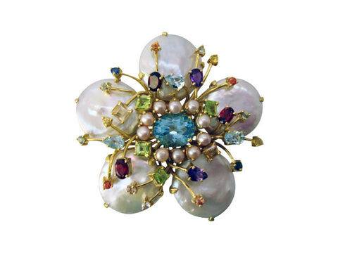 P612 baroque pearls pin - blue topaz