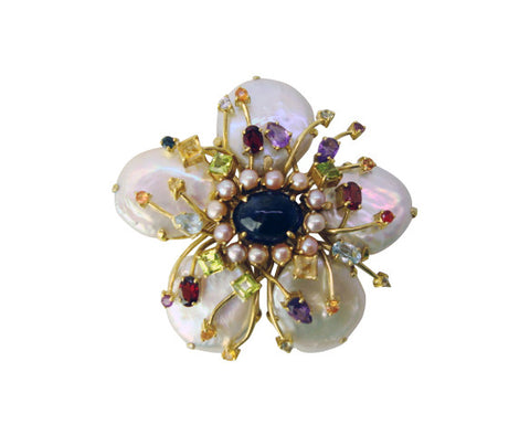P612 baroque pearls pin - blue sapphire