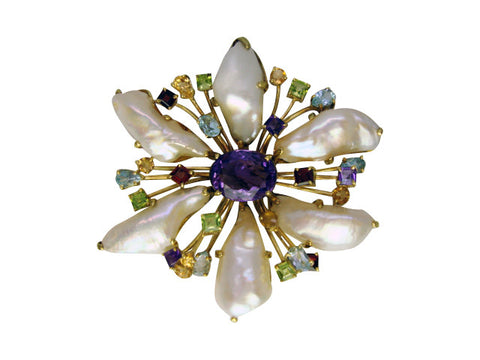 P621 freshwater baroque pearl pin