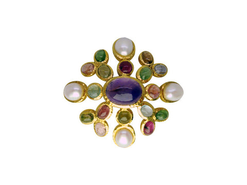 P629 tourmaline multi color pin