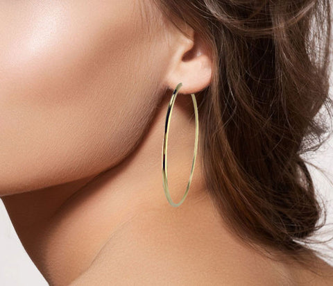 E3131 thin gold hoop with invisible post * MEDIUM