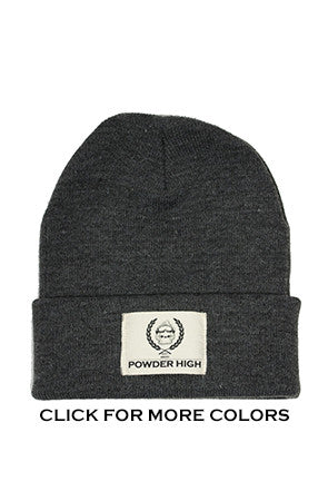 Dark Grey Winter Beanie with Canvas Patch - Powder High Apparel