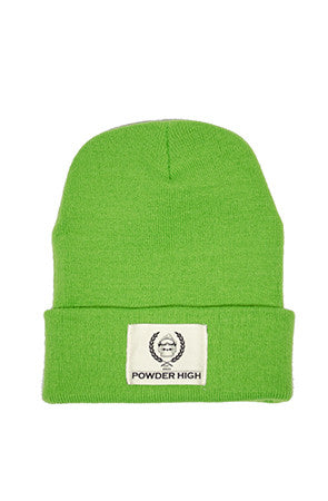 Lime Green Winter Beanie with Canvas Patch - Powder High Apparel