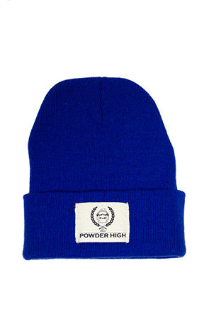 Royal Blue Winter Beanie with Canvas Patch - Powder High Apparel