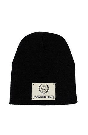 Black Winter Beanie with Canvas Patch - Powder High Apparel
