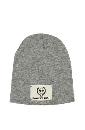 Light Grey Winter Beanie with Canvas Patch - Powder High Apparel