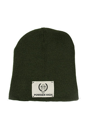 Olive Green Winter Beanie with Canvas Patch - Powder High Apparel