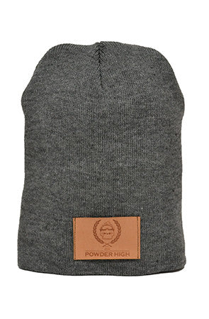 Grey Winter Beanie with Leather Patch - Powder High Apparel