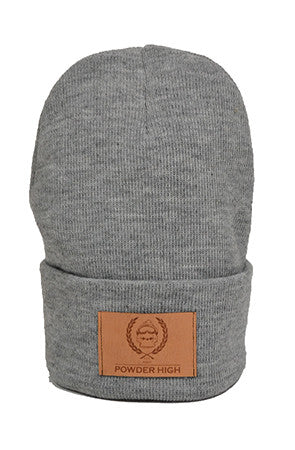 Grey Winter Cuffed Beanie with Leather Patch - Powder High Apparel