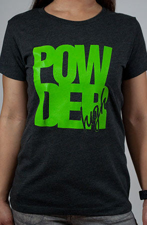 Block Life Women's Grey and Neon Green T-Shirt - Powder High Apparel