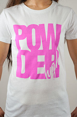 Block Life Women's White and Pink T-Shirt - Powder High Apparel