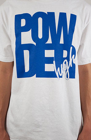 White and Blue Men's T-Shirt - Powder High Apparel