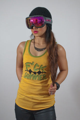 F*ck Summer Women's Yellow and Avocado Tank Top - Powder High Apparel