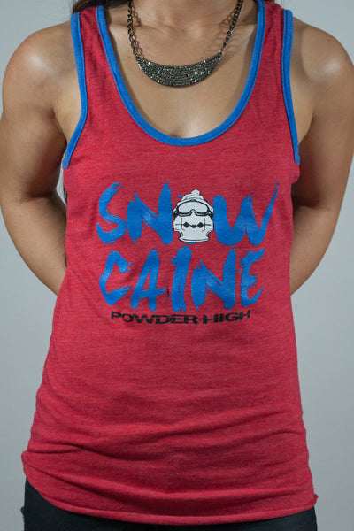 SnowCaine Snowboarding Women's Red Tank Top - Powder High Apparel