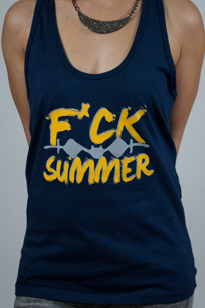 F*ck Summer Women's Navy Blue Tank Top - Powder High Apparel