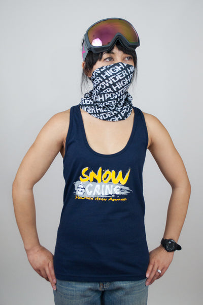 SnowCaine Skiing Women's Navy Blue Tank Top - Powder High Apparel