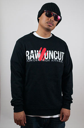 Raw & Uncut Black Raglan Crewneck Sweater - Powder High Apparel