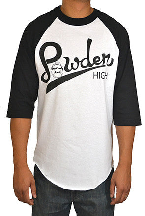 Black and White Raglan Style Tee Shirt - Powder High Script Design
