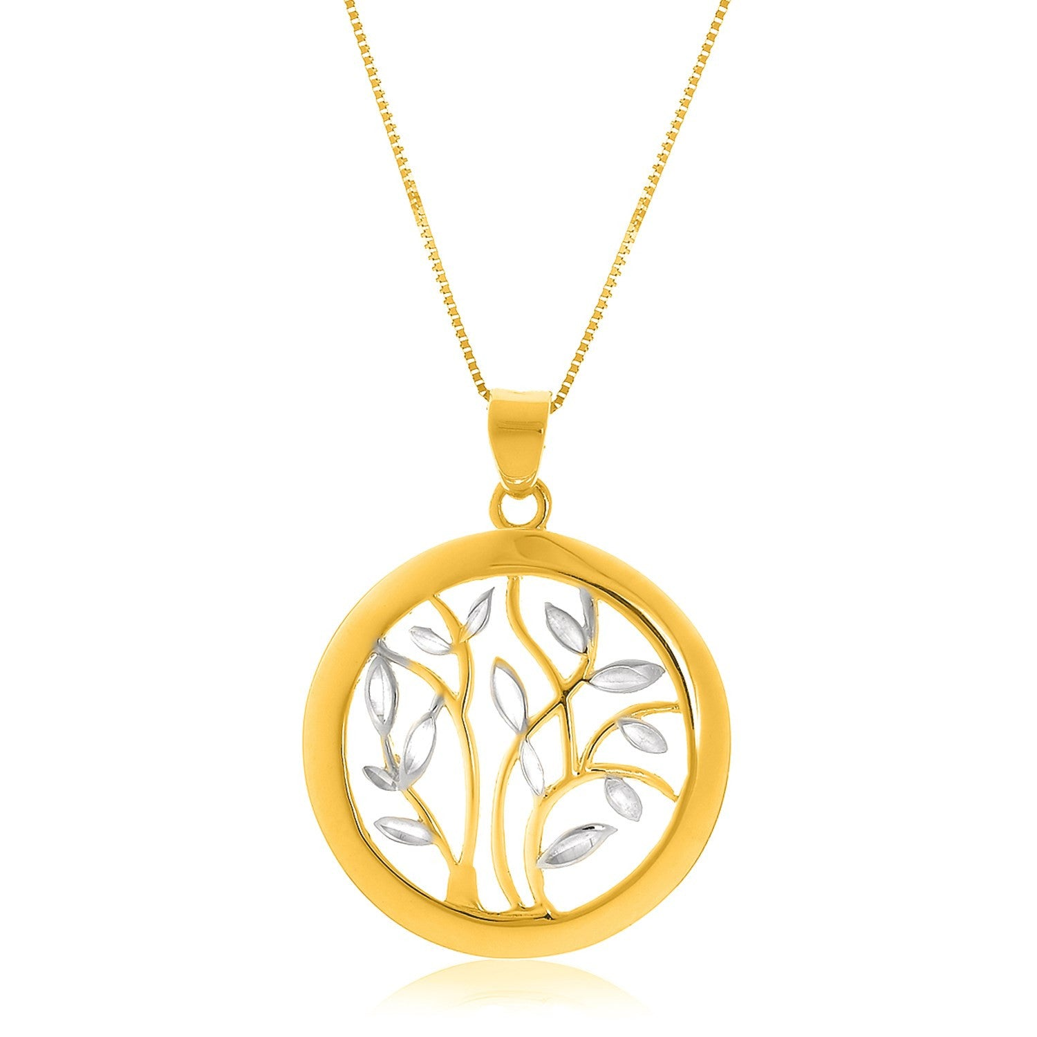 14K Two-Tone Gold Pendant with an Open Round Tree Design #GP76094 ...