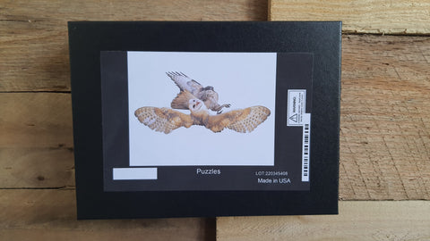 BARN OWL VS HAWK PUZZLE PIECES: 252 Crystal White Card Stock with Gloss Finish