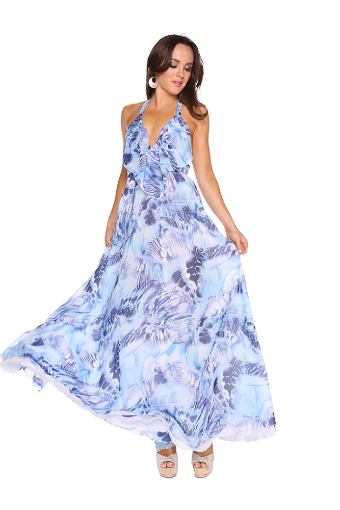 Blue butterfly print maxi