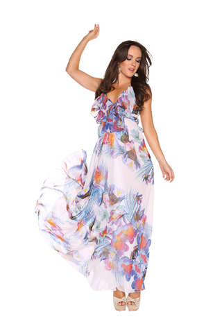 Tropicana White Printed Maxi