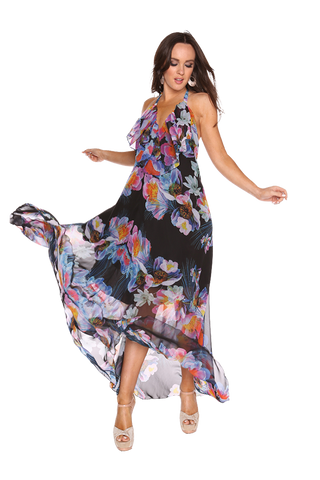 Tropicana Black printed maxi