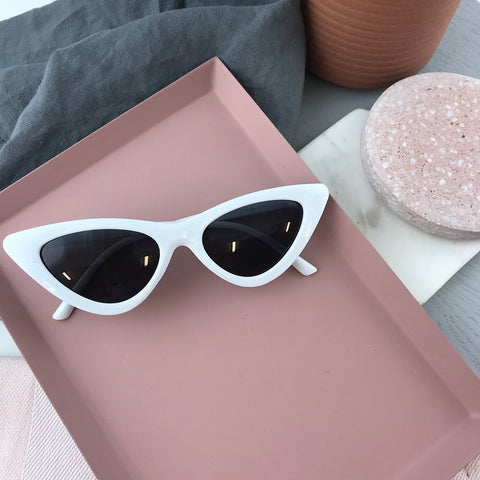 CATS EYE SUNGLASSES - WHITE