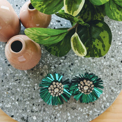 SEQUIN FLOWER EARRING- GREEN