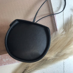 LEATHER SADDLE BAG- BLACK