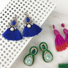 CRYSTAL AND TASSLE EARRING- BLUE