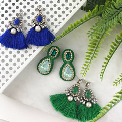 CRYSTAL AND TASSLE EARRING- GREEN