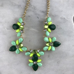 CRYSTAL CLUSTER NECKLACE- GREEN