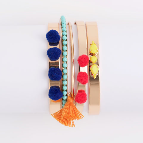 CLOVER BANGLE SET-MULTI