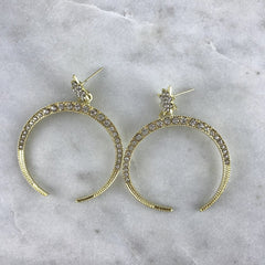 CRYSTAL DROP EARRING- GOLD