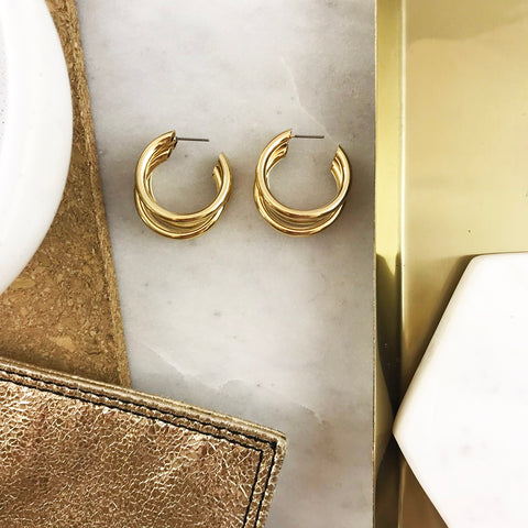 TRIPLE HOOP EARRING- GOLD