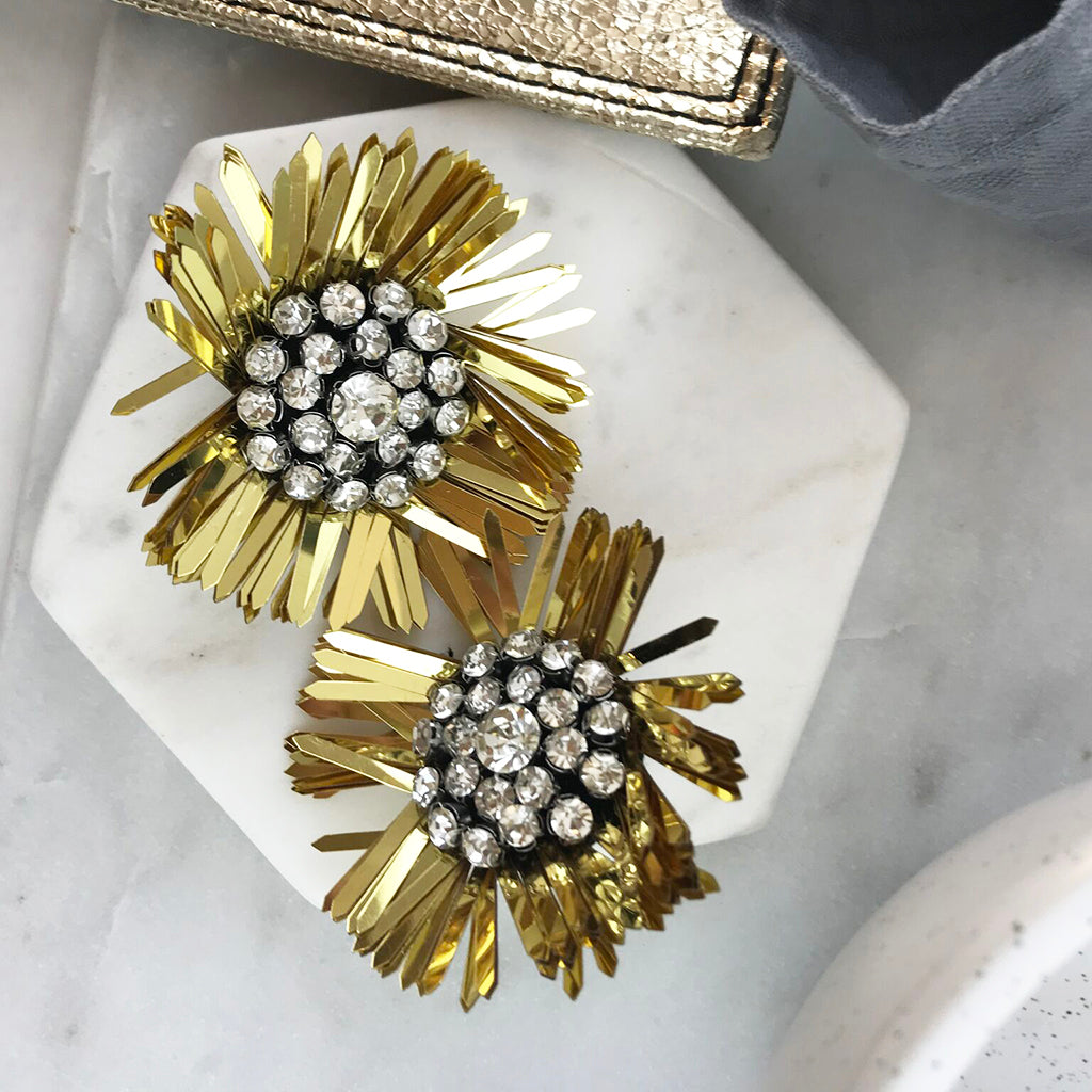 SEQUIN FLOWER EARRING- GOLD