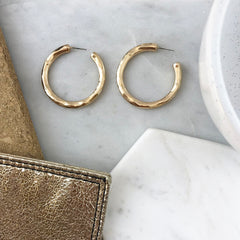 BEATEN METAL HOOP EARRING- GOLD