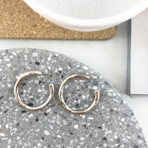 BEATEN METAL HOOP EARRING- SILVER
