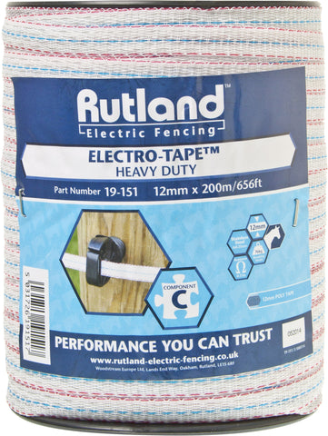 Rutland Electric Fencing Electrotape 12mm x 200m - 19-151R