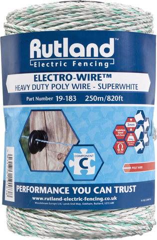 Rutland Electric Fencing White Poly Wire 250m - 19-183R