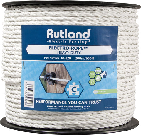 Rutland Electric Fencing Electro Rope 200m - 30-120R