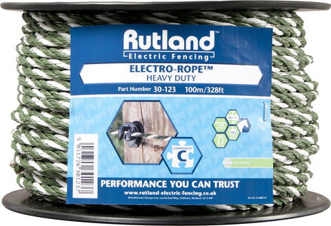 Rutland Electric Fencing Electro rope white/green 100m - 30-123R