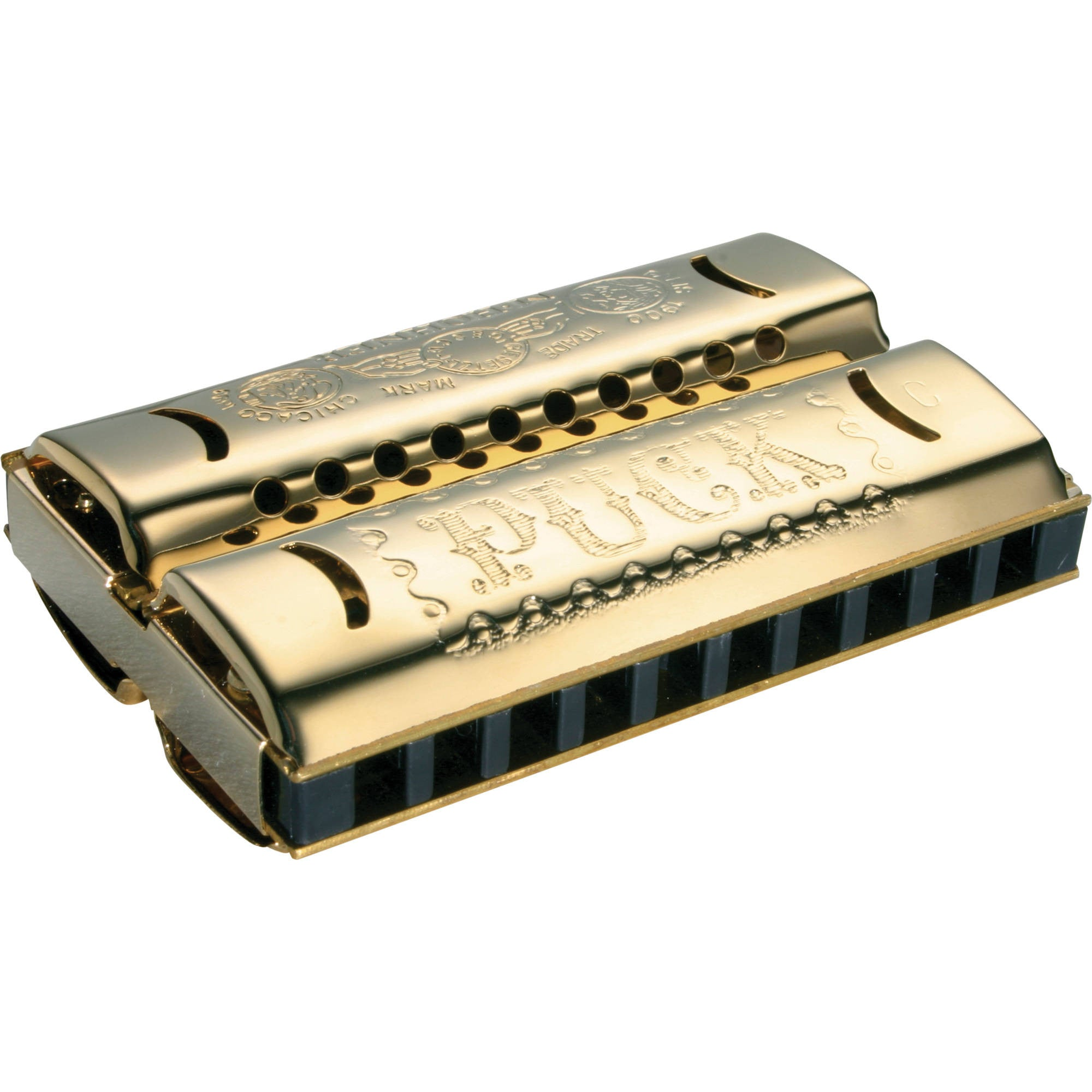 Hohner 553 Double Puck Harmonica, Gold, Key Of G-C Major