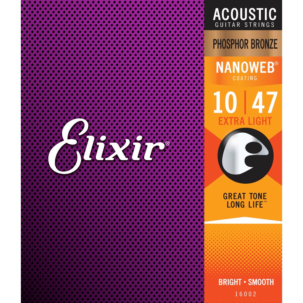Elixir 16002 Phosphor Bronze Nanoweb Acoustic Guitar Strings 10-47 Extra Light | Music Experience | Shop Online | South Africa