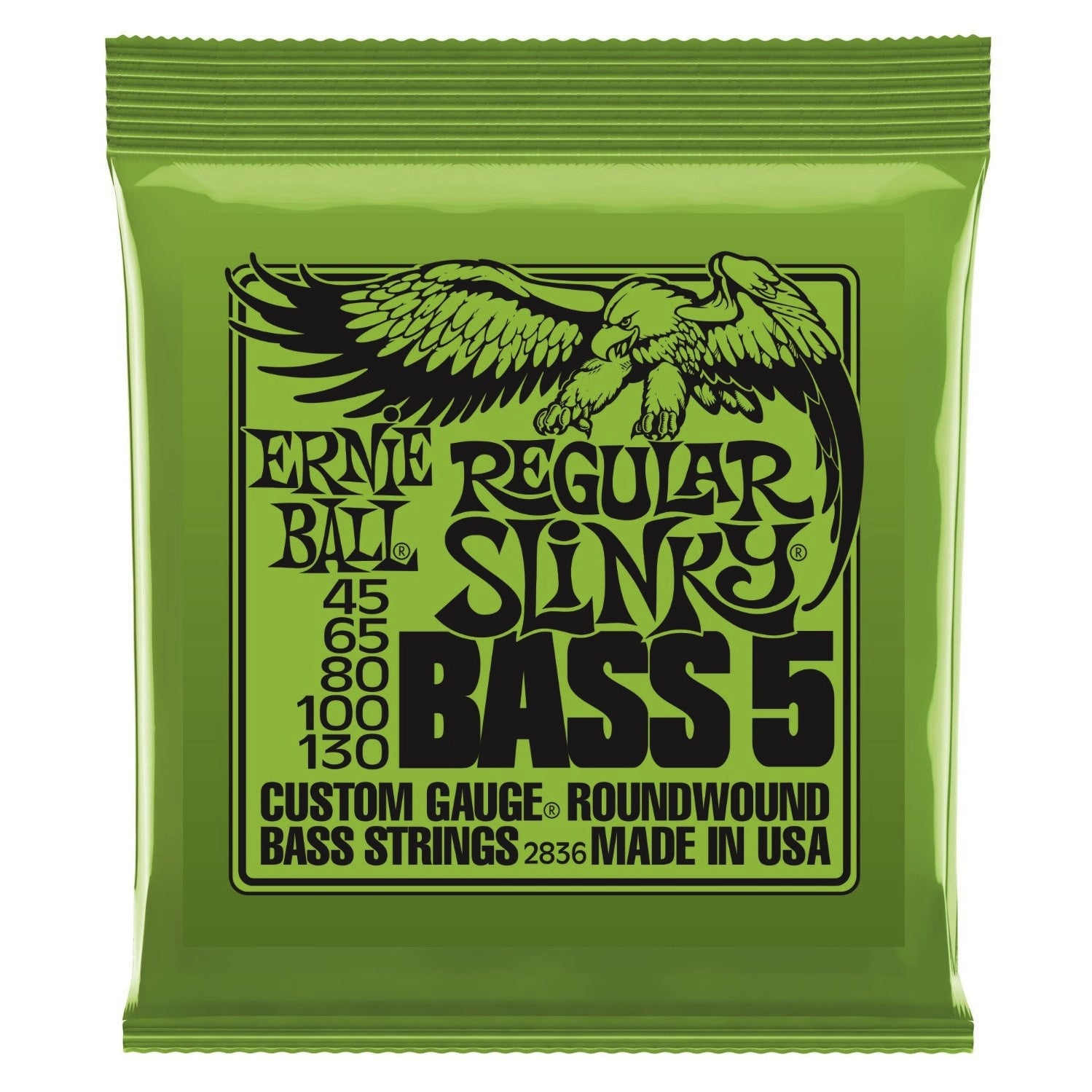 Ernie Ball 2836 Slinky 5-String Electric Bass Guitar Strings 45-130