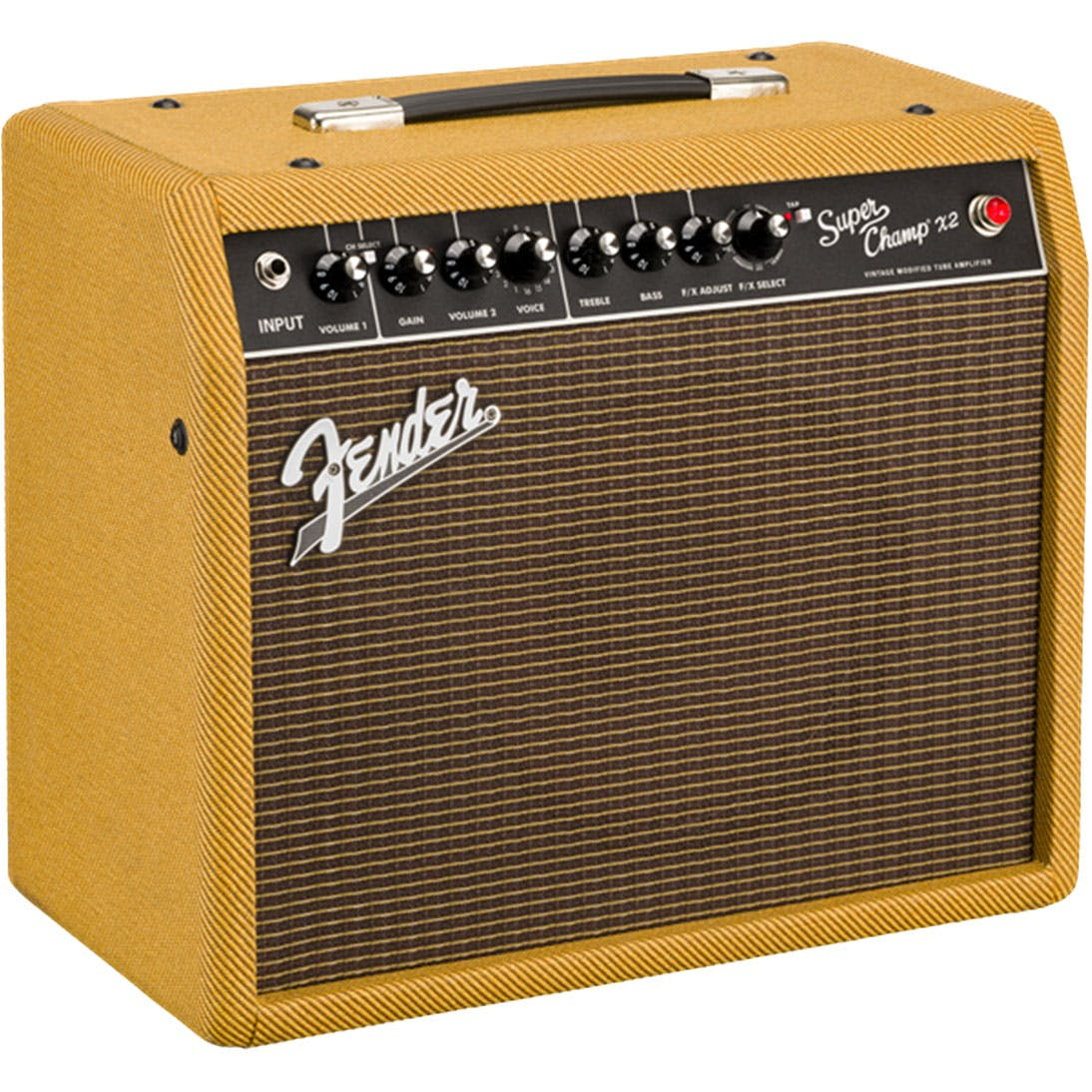 "Fender Super Champ X2 FSR 15-watt 1x10"" Tube Combo Amp with Eminence Ragin Cajun Speaker Lacquered Tweed 