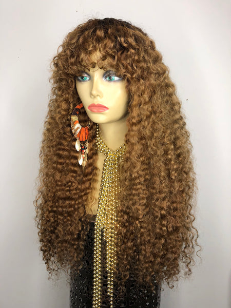TreBella Wigs Blonde Tight Curly full unit 22in - TreBella Wigs